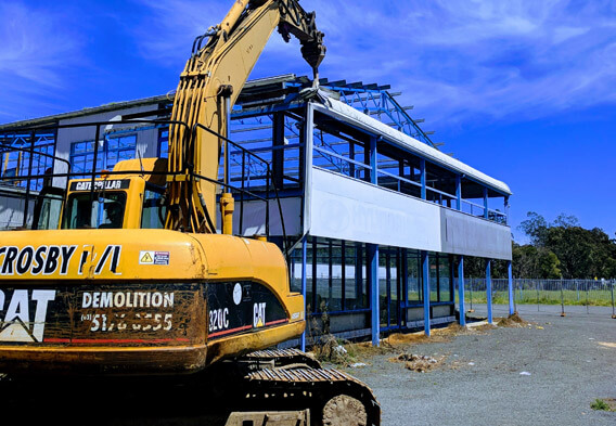 Demolition of commercial building by Crosby Contractors