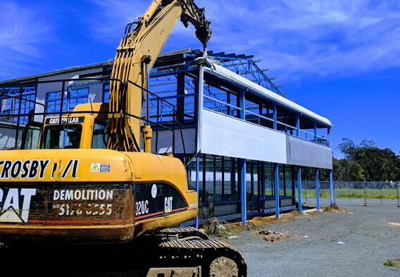 Demolition of commercial building by Crosby Contractors