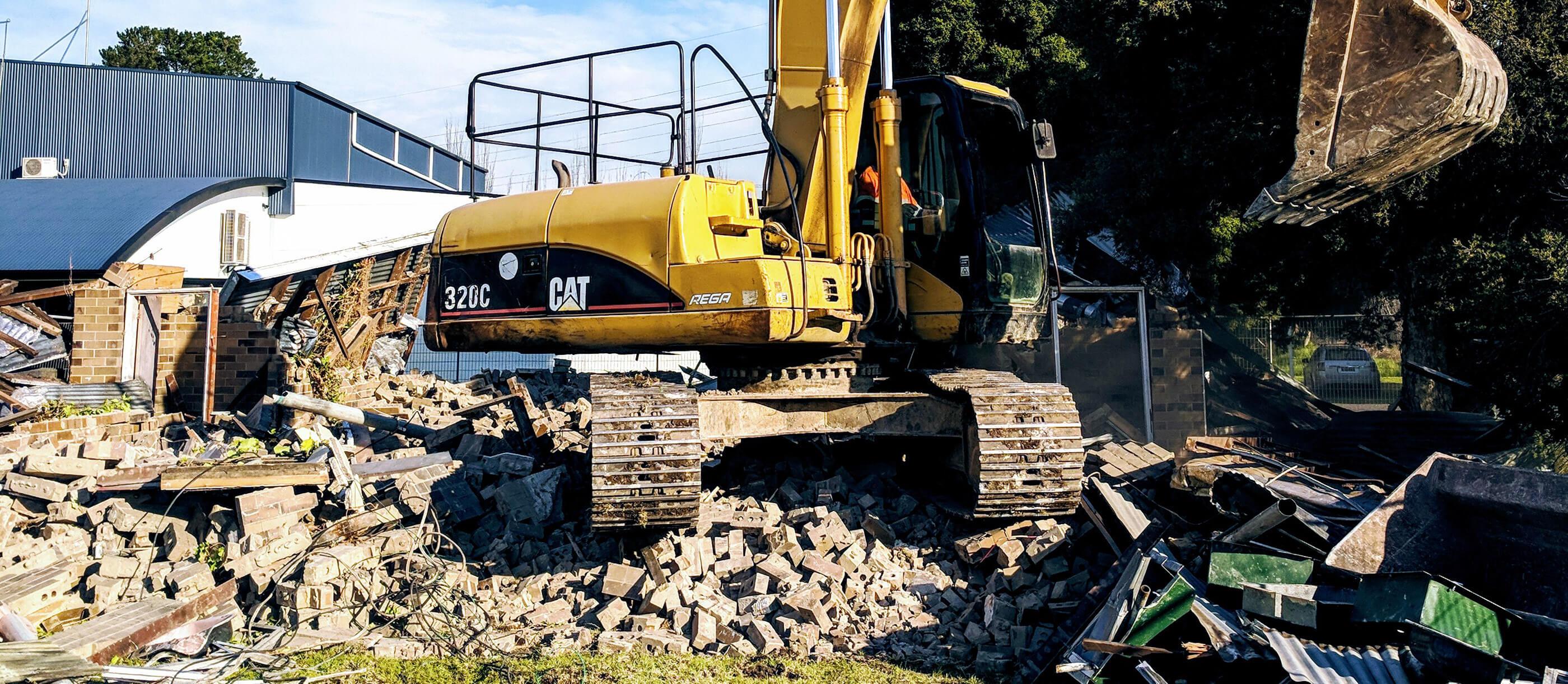 Demolition in progress with Crosby Contractors