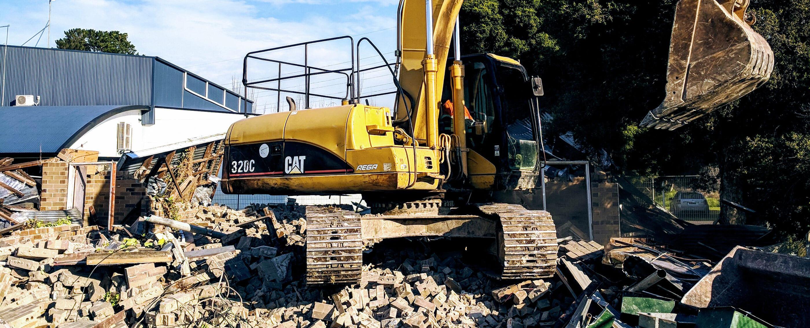 Demolition in progress by Crosby Contractors
